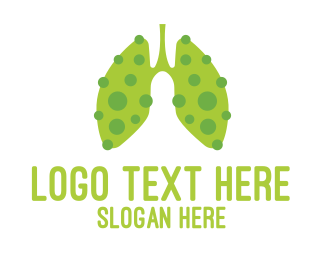 Lungs - Green Sick Lung Virus logo design