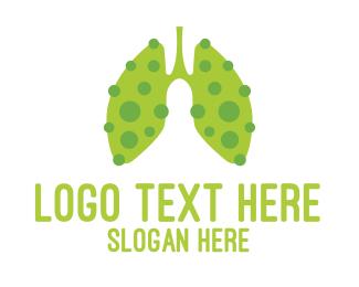 Health Care - Green Sick Lung Virus logo design