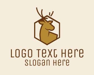 Wilderness - Modern Stag Hexagon logo design
