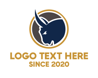 Bison - Bull Head Emblem logo design