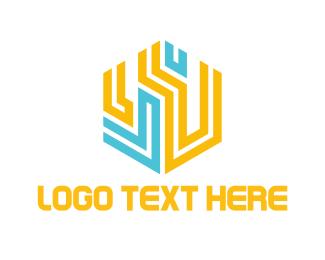 Labyrinth - Hexagonal Circuits logo design