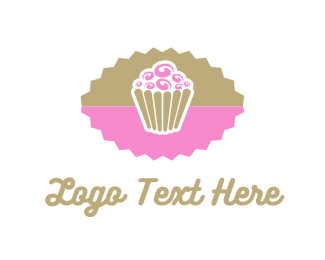 Dessert Shop - Pink Chocolate Cupcake logo design