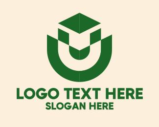 Institution - Green Letter U Emblem  logo design