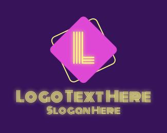 Light - Neon Lights Lettermark logo design