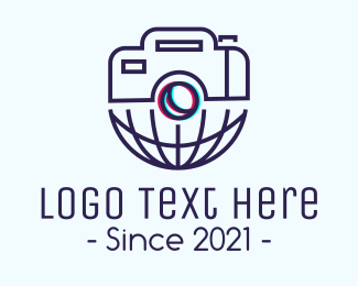 Video Camera - Global Photography 3D Lens logo design