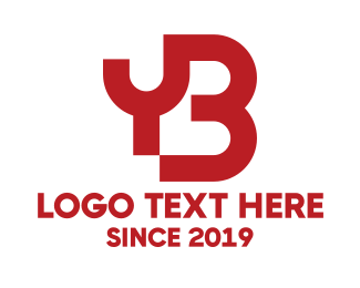 Connection - Red Connected YB logo design