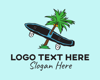 Professional Skateboarder - Tropical Summer Longboard Skateboard logo design