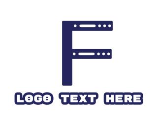 Modem - Blue F Server Box logo design