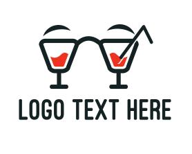 Geek - Nerd Cocktail Drink logo design