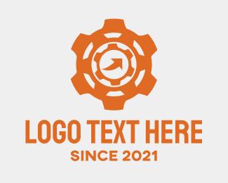 Engine Parts - Orange Machine Gear logo design