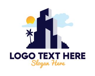 Island - Tropical Island Condominium logo design