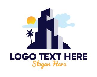 Condominium - Tropical Island Condominium logo design