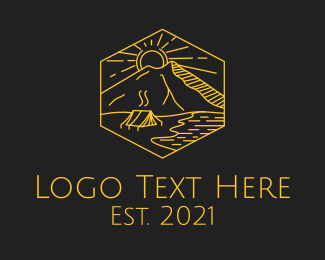Boracay - Golden Hexagon Camp logo design