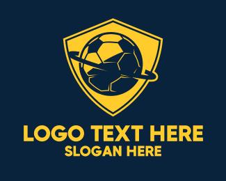Trainer - Gold Soccer Badge logo design