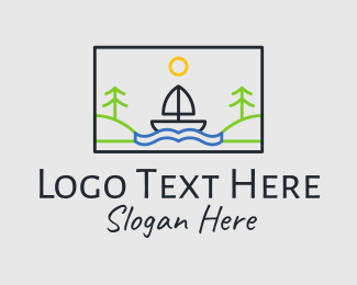 Sea Travel - River Sailing Boat  logo design