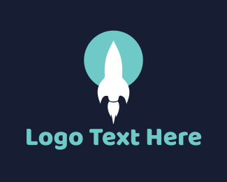 Spaceship - White Rocket logo design