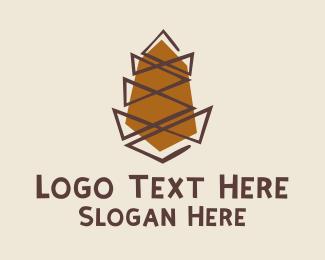 Pine Cone - Brown Pine Cone  logo design