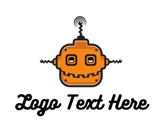 Cyborg - Orange Robot logo design