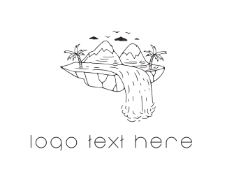 Island - Mountain Waterfall logo design