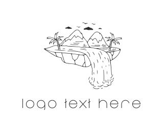 Island - Mountain Waterfall logo design