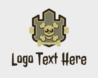 Poisonous - Skull Pirate Emblem  logo design