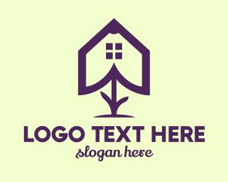 Therapist - Flower House Outline logo design