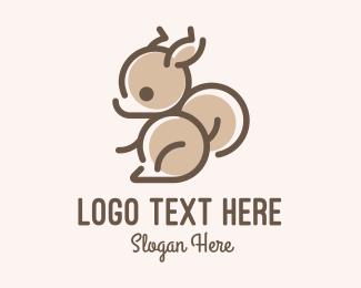 Tree Squirrel - Cute Minimalist Squirrel logo design