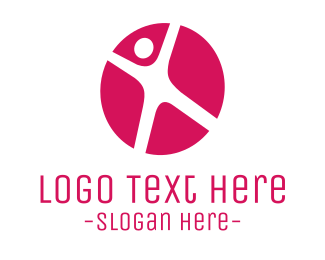 Trampoline - Sporty Pink Circle logo design