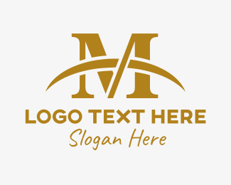 Marriage - Gold Letter M logo design
