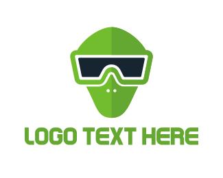 Vr - Green Mask VR logo design