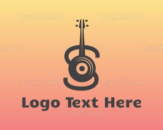Cd - Vinyl Guitar Letter S logo design