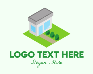 Retail Shop - Isometric Modern House logo design