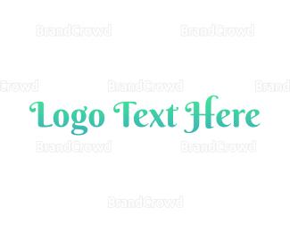 Aqua - Mermaid Blue Text logo design