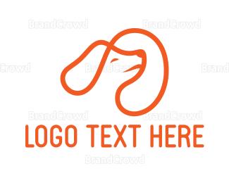 Pet Care - Orange Dog Outline logo design