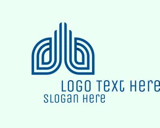 Pulmonologist - Blue Modern Lungs  logo design