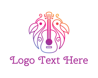 Country Music - Tropical Guitar Band logo design
