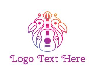 Acoustic - Tropical Guitar Band logo design