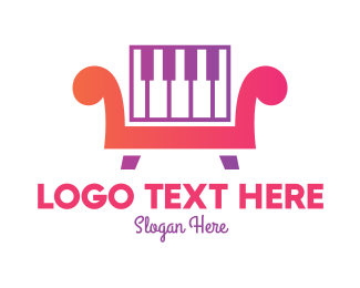 Piano Lessons - Piano Chair logo design