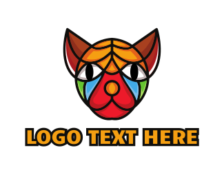 Breeder - Colorful Mosaic Sphynx logo design