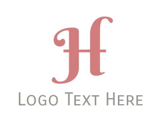Coral - Pink Cursive Letter H logo design