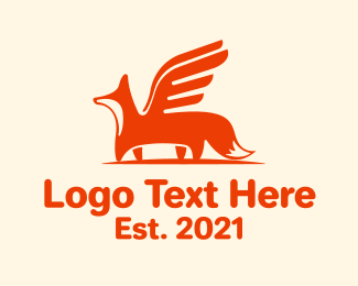 Winged - Winged Fox logo design