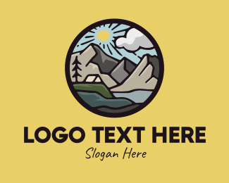 Rock Formation - Summer Sunshine Camping Trip logo design