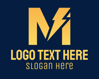 Charging Station - Yellow Lightning Letter M logo design
