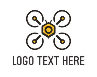 Furnitureinterior Bee Drone logo design