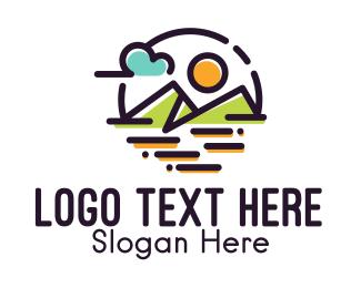 Road Trip - Natural Mountain Landscape logo design