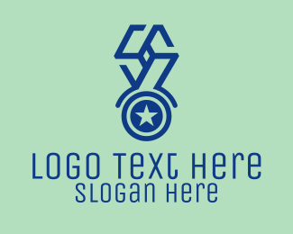 Recognition - Blue Star Medal logo design