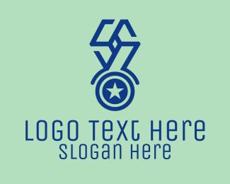 Winning - Blue Star Medal logo design
