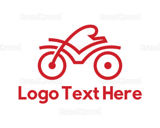 Bicycle - Red Cyclist Outline logo design