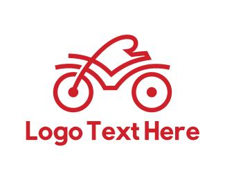 Cardio - Red Cyclist Outline logo design