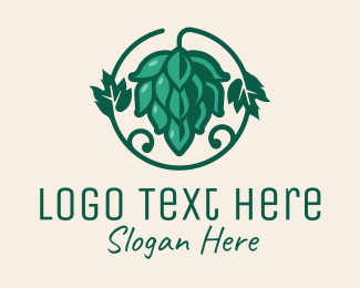 Brewer - Green Hop Plant Flower  logo design